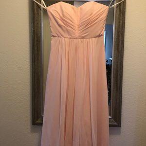 Strapless Blush Bridesmaid Dress